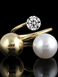 Double Color Pearl Beads Metal With Artificial Diamond Sphere Spiral Rings(1Pc)