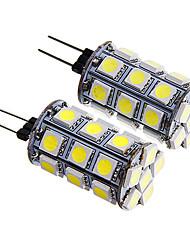 g4 4W 27x5050 SMD 300-350lm luz quente / branco levou bulbo milho (12v 2pcs)