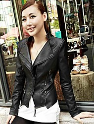 femenino de cuero de la PU de las mujeres del ol delgado de la chaqueta