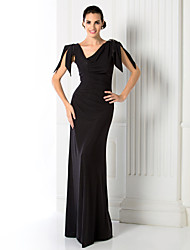Prom / Formal Evening / Military Ball / Black Tie Gala Dress Sheath / Column V-neck Floor-length Jersey with Beading