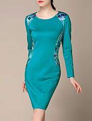 lifver® vestidos das mulheres vestidos de cultivar a moralidade mostram finas azul manga longa grandes senhoras tamanho '0319