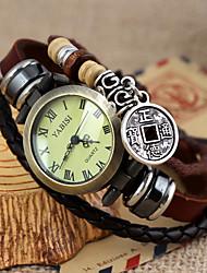 Mulheres Relógio de Moda Quartz Couro Banda Boêmio Marrom marca-