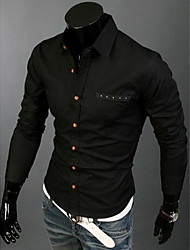 Men 's Personality Pure Color  Pocket Cultivate One's Morality Long Sleeve Shirt