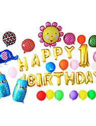 golden cartoon feliz aniversário azul mamadeira set alumínio membrana bebê chuveiro balão