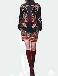 bouton haut col de couleur contrastante intersia broderie manches longues large pins des femmes chandails occasionnels