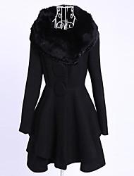 solapa de lana de cuello abrigo de las mujeres Yiluo