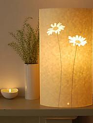 lámpara de pie 1 luz patrón de girasol pantalla de pergamino 220v retro