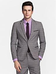 poliéster gris claro ajuste adaptado traje de dos piezas