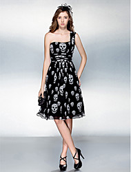 TS Couture Cocktail Party / Prom Dress - Print Plus Sizes / Petite Sheath/Column One Shoulder Knee-length Chiffon