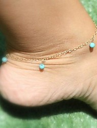 Women's Simple Bead Tassel Anklets