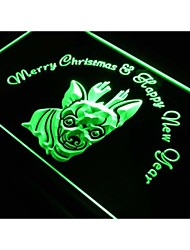 s159 Chihuahua Christmas New Year Neon Light Sign