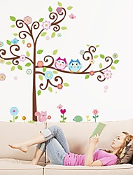 ZOOYOO® removable beautiful colorful tree and two owls wall sticker home decor wall stickers for kids room