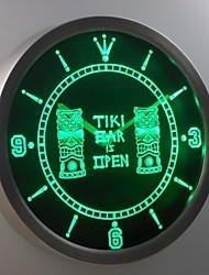 nc0347 Tiki-Bar Pub Club Masken Leuchtreklame LED-Wand Uhr