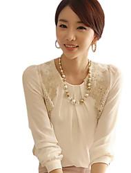 YGR Frauen-Creme Chiffon Goldene Shoulder Shirt