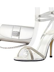 los zapatos de las sandalias de los zapatos del tobillo correa stiletto talón de las mujeres a juego bolso de noche