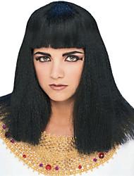 el verdadero cleopatra larga recta negro de halloween fiesta de la peluca los 45cm de las mujeres