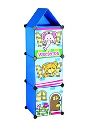 Multifunctional Children's Cartoon Oxford Clothing Three-layer Storage Cabinet