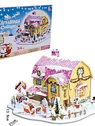 le cadeau de Noël à puce maison chalets doux puzzles 3D (de 34pcs)