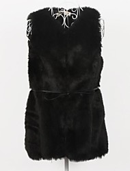 Fur Vest V Neck Slim Faux Fur Party/Casual Vest