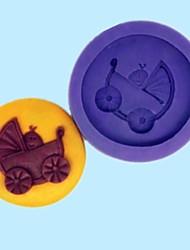cochecito de bebé con la torta de chocolate fondant bebé molde de silicona caramelo de la resina, L7M * w7cm * h1.7cm