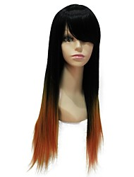 Capless Top Grade Long Straight Black Orange Gradient Synthetic Wig