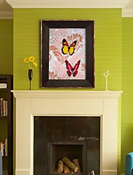 Framed 3D Art Wall Art , Animal 3D Butterflies   on Satined Paper for Wall Decor with Brown PS Frame