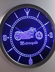 nc0355 serviços de vendas de bicicleta motocicleta sinal de néon conduzido relógio de parede