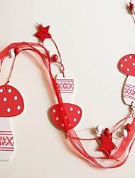 Christmas Hanging Mushroom Shape  Long  1 PC MDF Materiels for Christmas Decorations