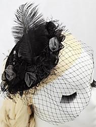Women's/Flower Girl's Satin/Feather Headpiece - Wedding/Special Occasion/Outdoor Fascinators/Hats