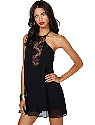 Women's Straps Lace Splice Halter Mini Dress