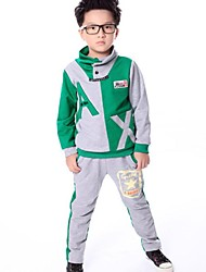 Boy's Stand Collar Letter Print Contrast Color Stitching Casual Clothing Sets(Hoodie&Pants)
