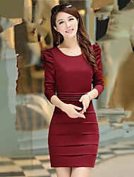 Women's Work Dress,Solid Knee-length Long Sleeve Blue / Red / Black Polyester Spring / Fall / Winter