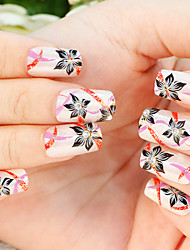 24PCS Elegant Flower Rhinestone Wedding Nail Art Tips With Nail Glue&Nail File