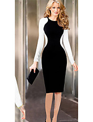 Monta Women's Long Sleeve Contrast Color Bodycon Slim Dresses
