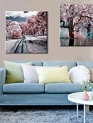 Stretched Canvas Art Winter Colors  Set of 2