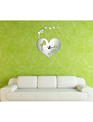 3D DIY Modern Style New Angel Hearts Mirror Wall Clock