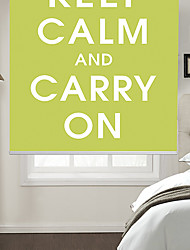 Philosophic Classic Words Keep Calm And Carry On With Green Background Roller Shade