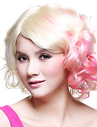 Monroe Curly Golden and Pink Mixed Color 28cm Women's Halloween Party Wig