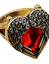 MISS U Women's Red Heart Wing Ring
