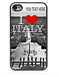gepersonaliseerd geval ik houd van italië ontwerp metalen behuizing voor de iPhone 4 / 4s