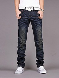 Men's New Fashion Mid-rise Zipper Fly Pleated Vintage Combined Body Long Pencil Jeans