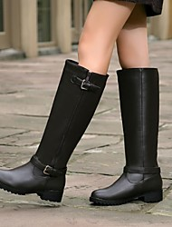 Women's Shoes Round Toe Low Heel Knee High Boots