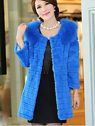 Women's Long In The Rabbit Fur Coat