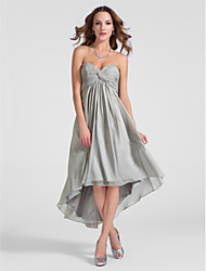 TS Couture® Cocktail Party Dress - Silver Plus Sizes / Petite A-line / Princess Sweetheart / Strapless Asymmetrical / Knee-length Chiffon