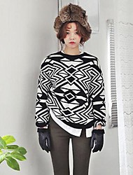 Women's Wild Bottoming Geometric Jacquard Knit Sweater Hedging Sweaters
