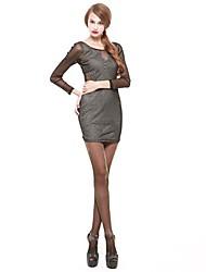 mulheres joannekitten® de malha pura bodycon vestido de manga longa