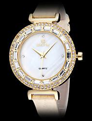Frauen elegant Diamant Case Slim Lederband Quarz-Armbanduhr (farbig sortiert)