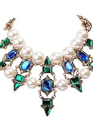 mode perles blanches pierre jane des femmes et collier de fleurs vert