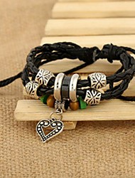Lureme®Alloy Heart Beaded Bracelet