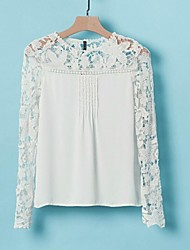 Women's Front Pleats Crochet Lace Splicing Chiffon Blouse